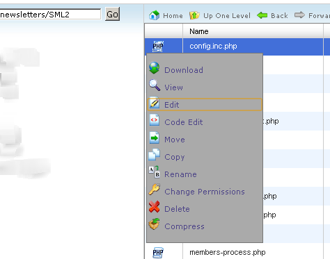 Editing config.inc.php file for configuring the database settings