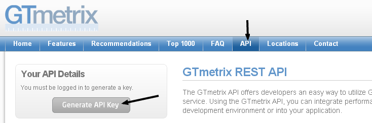 Generating GTmetrix API Key