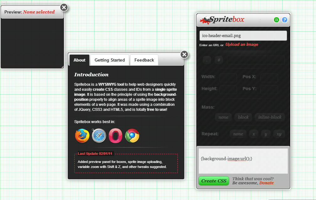 Spritebox, Create CSS from Sprite Images