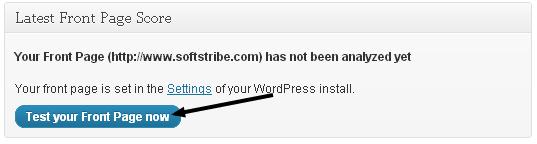 Gtmetrix WordPress Plugin Tests section