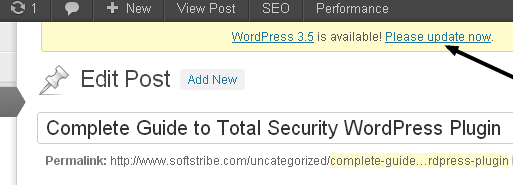 Please Update New Version WordPress 3.5
